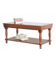 Tavolino rettangolare piano cristallo in legno con piano in vetro stile Luigi Filippo