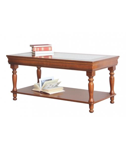 Tavolino rettangolare in legno con piano in vetro stile Luigi Filippo, Art. 398