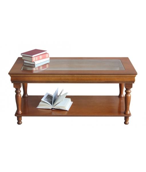 Tavolino basso in legno e vetro, rettangolare da salotto, Art. 398