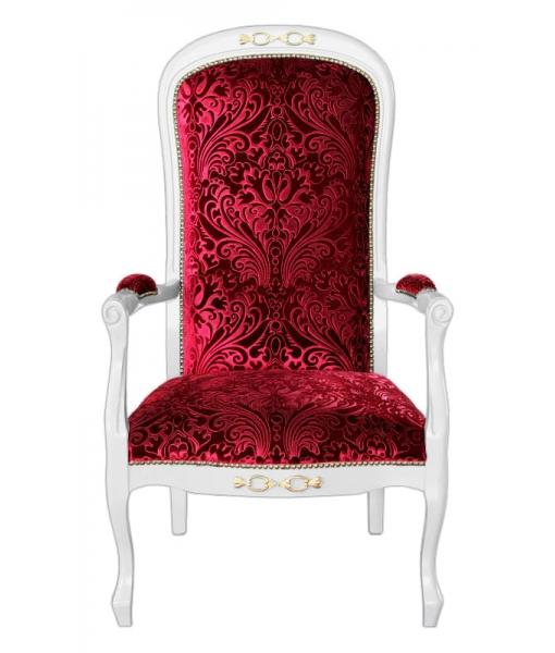 Poltrona classica con braccioli in legno con comoda imbottitura e tessuto rosso