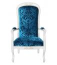 Poltrona da salotto o camera da letto in legno laccato bianco con tessuto azzurro