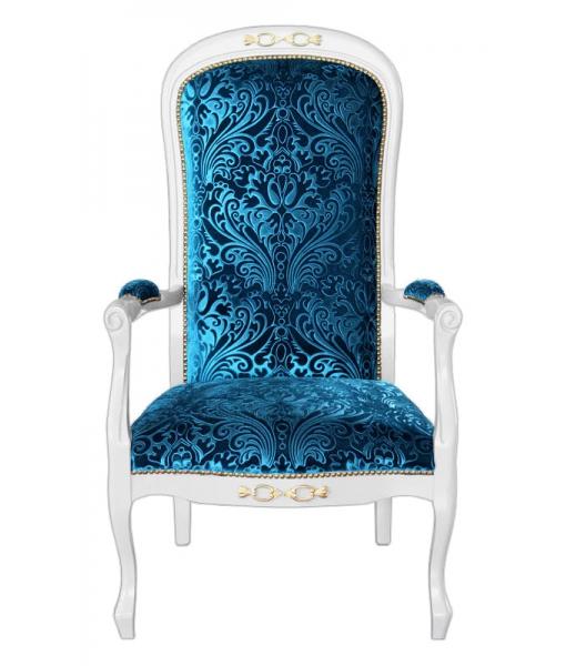 Poltrona da salotto o camera da letto in legno laccato bianco con tessuto blu (colore 10), art. F-Fly