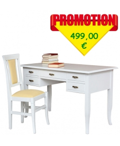 Scrittoio e sedia stile classico colore bianco laccato