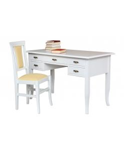 Abbinamento scrittoio e sedia, scrittoio con 5 cassetti e sedia con ecopelle