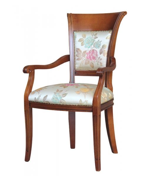Sedia capotavola per sala da pranzo, legno massello di faggio e imbottitura comoda, Art. FAG-42
