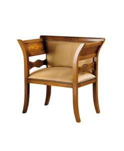 Panchetta da ingresso classica in legno con seduta e schienale imbottiti e tappezzati