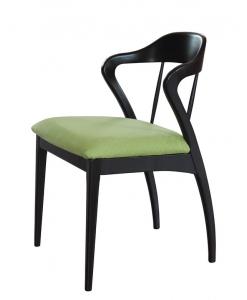 Sedia di design nera con tessuto verde, per la sala da pranzo o per lo studio