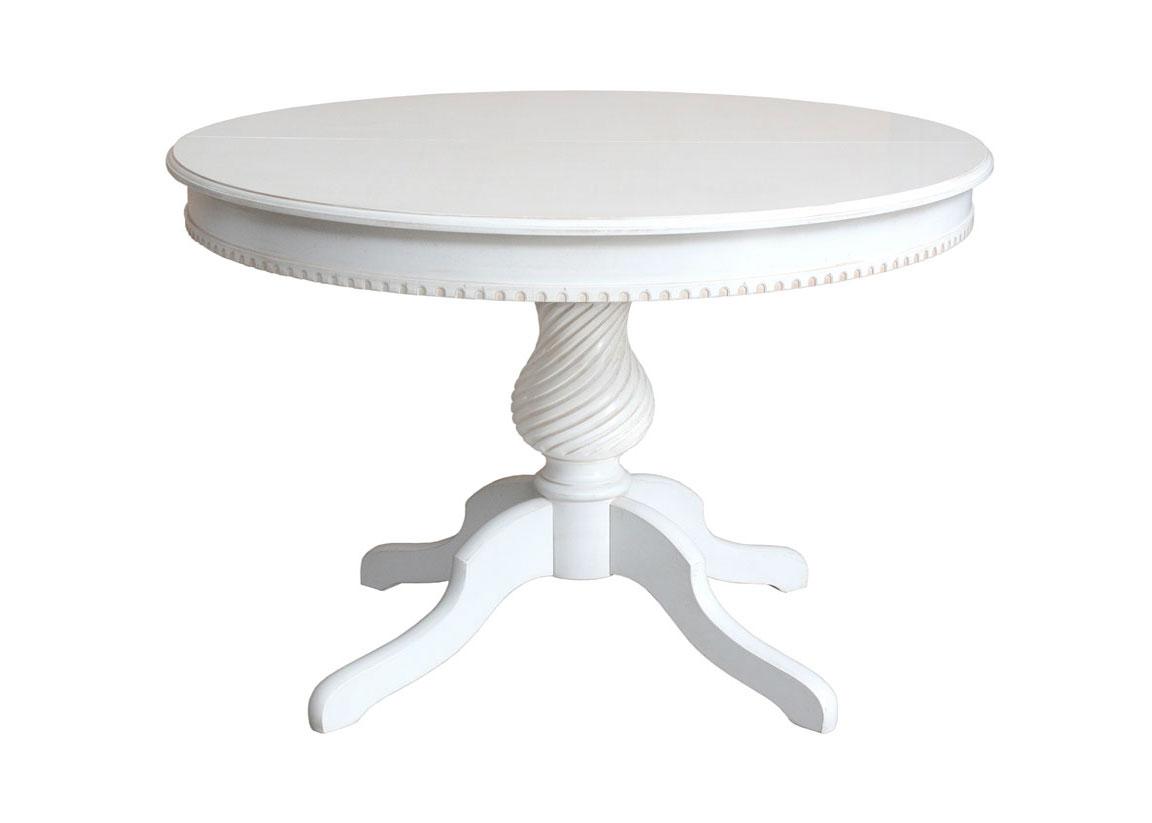 Tavolo rotondo bianco gambone centrale in legno tavolo - Tavolo rotondo allungabile bianco ...