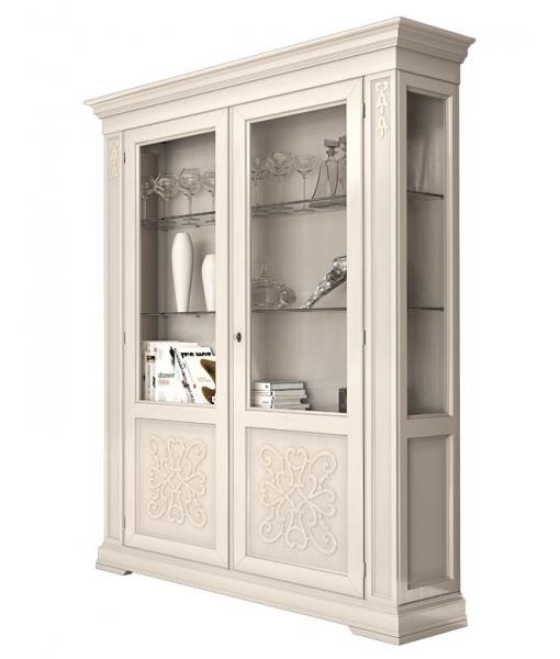 vetrina in vetro usata x sala da pranzo : Vetrina avorio da soggiorno o sala da pranzo con ripiani in vetro e 2 ...