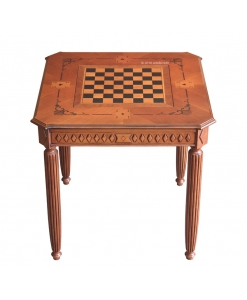 Tavolo da gioco con scacchiera intarsiato e intagliato da salotto