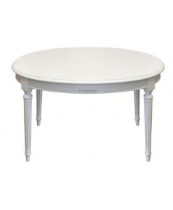 Tavolo ovale bianco laccato per sala da pranzo stile impero
