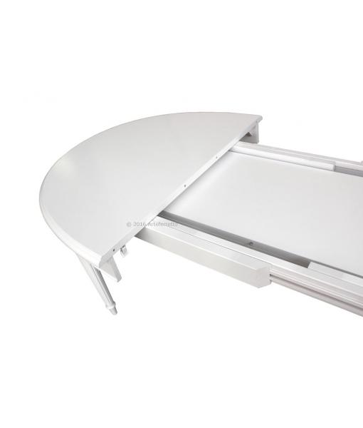 Dettaglio fase d'apertura tavolo in legno da pranzo, made in Italy