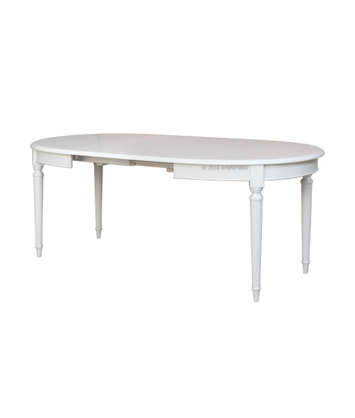 Tavolo allungato 210 x 95 cm da pranzo in legno laccato bianco