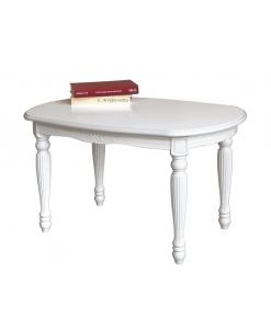 Tavolino ovale laccato shabby da salotto intagliato, colore avorio patinato