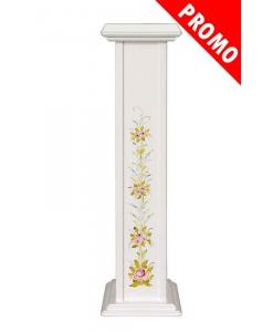 Colonna portavasi in legno laccata con decori floreali dipinti a mano
