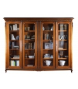 Libreria 4 ante da salotto o da studio, in legno con dettagli dorati incisi sul legno