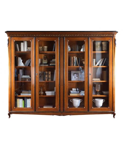 Libreria 4 ante da salotto o da studio, in legno con dettagli dorati intagliati sul legno, Art. V85