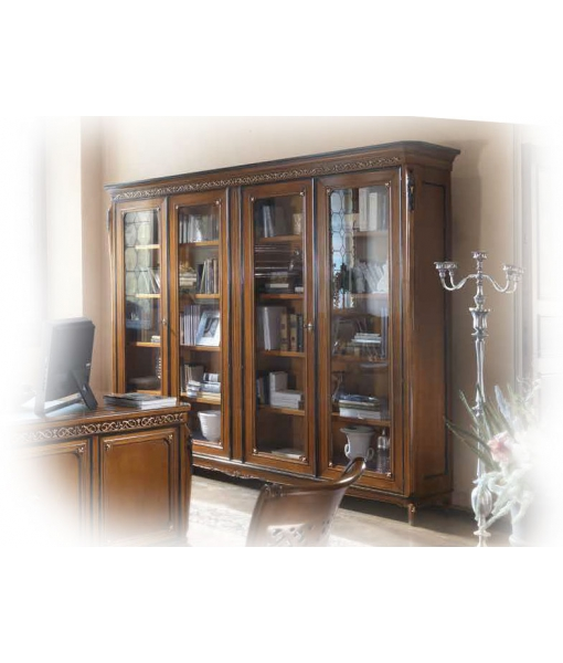 Libreria classica con 4 ante in vetro, da studio o salotto