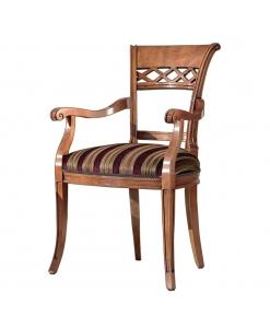 Sedia capotavola con braccioli schienale traforato e tappezzeria a scelta