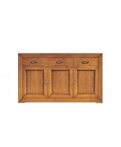 Credenza da sala da pranzo o salotto in legno massello con 3 ante