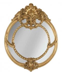 Specchiera rotonda con finitura dorata, specchiera da salotto dorata