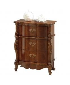 Comodino in legno inarsiato e intagliato con 3 cassetti, stile 700, alta qualità veneta