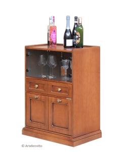 Mobile bar in legno in stile classico con antine in cristallo