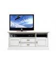 Mobile tv basso con vano per soundbar, porta tv laccato bianco