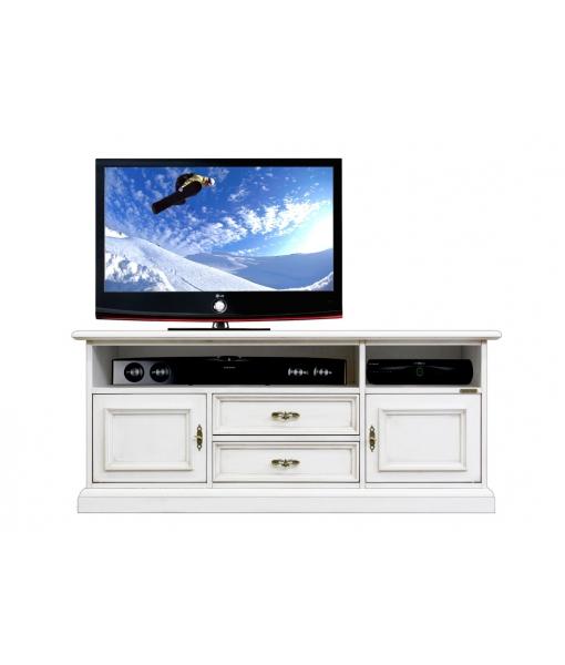 Mobile tv basso con vano per soundbar, porta tv laccato bianco, Art. SB-130AV