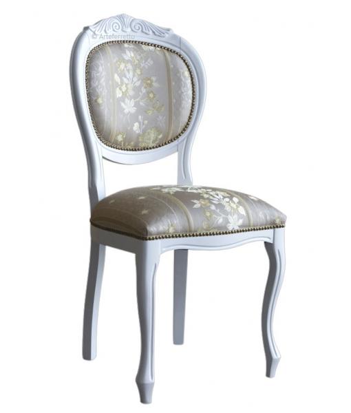 Sedia in legno massello di faggio con cresta imbottita, Art. VIS-12-AV