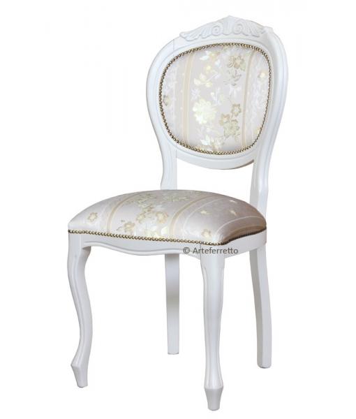 Sedia bianca per sala da pranzo, alta qualità made in Italy