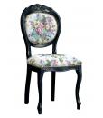 Sedia classica in legno laccata nera, con rivestimento in tessuto di buona qualità, Arteferretto