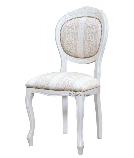 Sedia classica in legno massello laccata bianca, imbottita e tappezzata