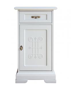Portatelefono classico in legno laccato bianco da ingresso, salotto