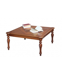 Tavolino quadrato basso da salotto con piano intarsiato