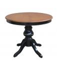 Tavolo rotondo bicolore allungabile ciliegio / nero, gambone centrale