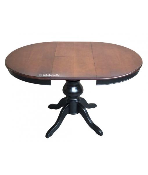 Tavolo rotondo allungabile diametro 100 cm, bicolore