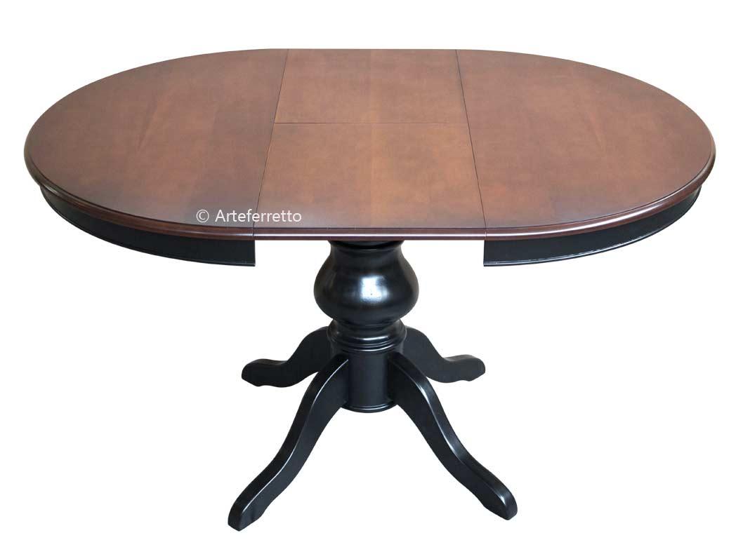 Tavolo rotondo bicolore allungabile 100 cm arteferretto for Tavolo rotondo nero