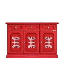 Credenza rossa 3 ante e 3 cassetti con fregi