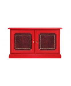 Credenzina bassa rossa con pannelli di pelle di tipo Bulgara