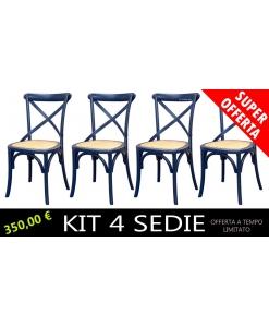 4 sedie blu notte, sedie blu