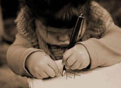 scrivere, scrivo, lettera, bambina che scrive