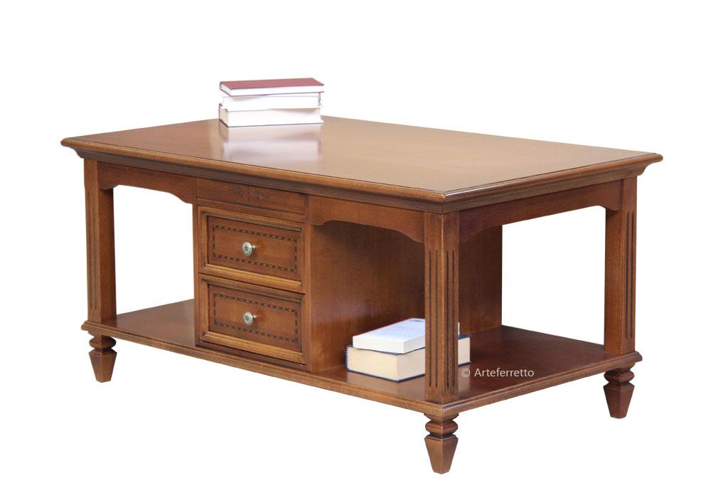 Tavolino basso da salotto con ripiano inferiore 2 cassetti, tavolino ...