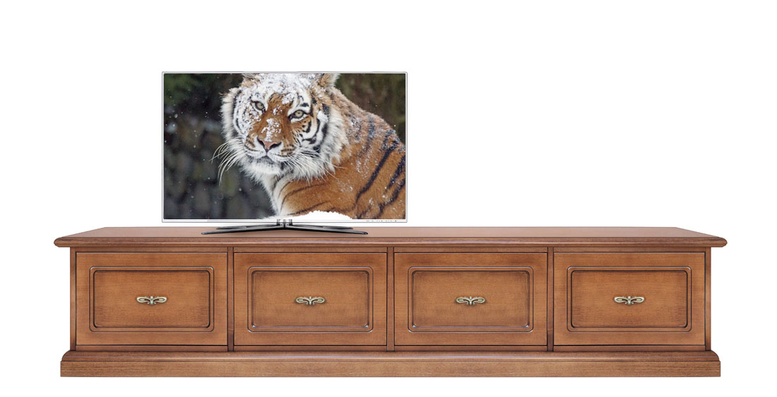 Mobile basso parete tv soggiorno, 4 cassettoni chiusura soft, mobile ...