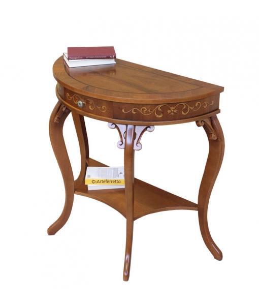 Consolle in legno con cassettino e gambe sagomate, Art. UL-01