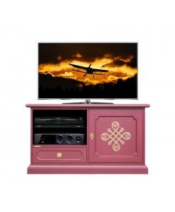 Mobile tv midi laccato rubino con fregi dorati