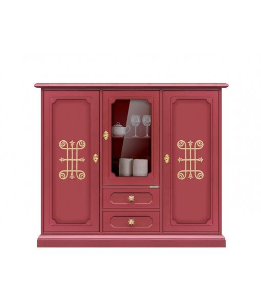 Credenza alta color rubino con dettagli oro, Art. 3170-RUV