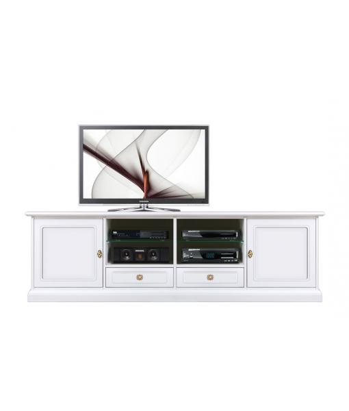 Mobile tv laccato con vano centrale, cassetti e ante