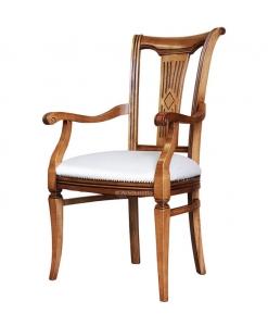 Sedia capotavola in legno con schienale decorato
