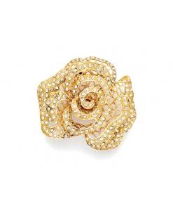 Maniglia fiore a dorma di rosa in finitura oro con Swarovski